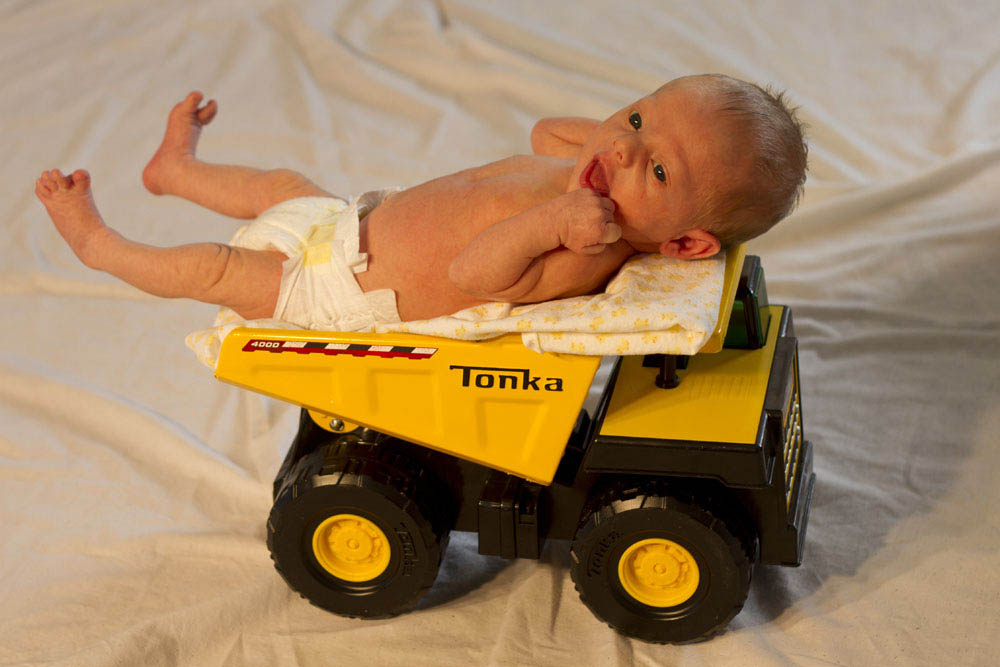 Baby photo in tonka truck photo Montana Photographer MT